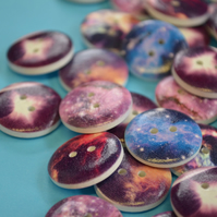 20mm Wooden Space Buttons Stars Galaxy Planets Nebula (SP2)