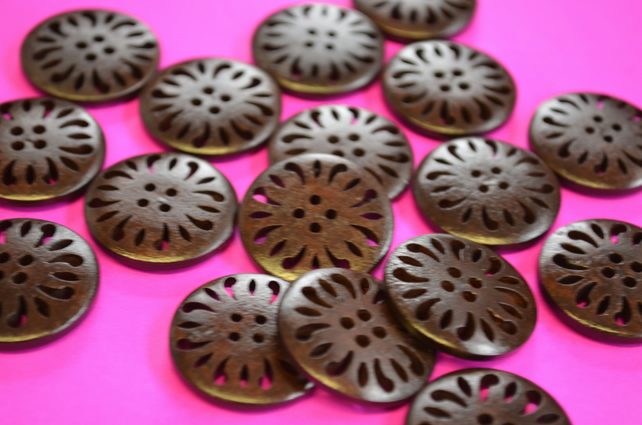 25mm Dark Brown Wooden Buttons Pierced Wood (DB2)