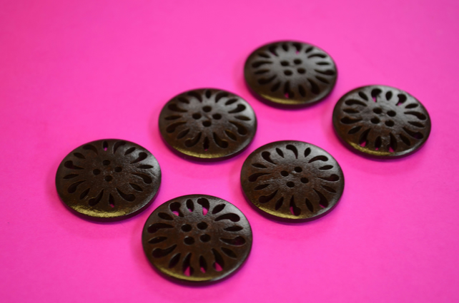 25mm Dark Brown Wooden Buttons 6pk Pierced Wood (DB1)