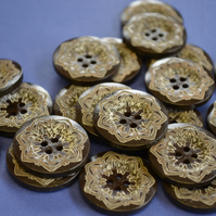 25mm Dark Brown and White Mandala Wooden Floral Buttons Wood Flower (DB4)