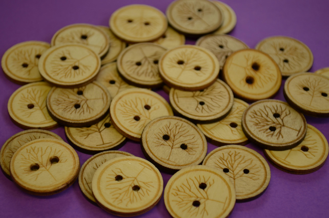 25mm Natural Wooden Tree Buttons Tree of Life Wood (WNT2)