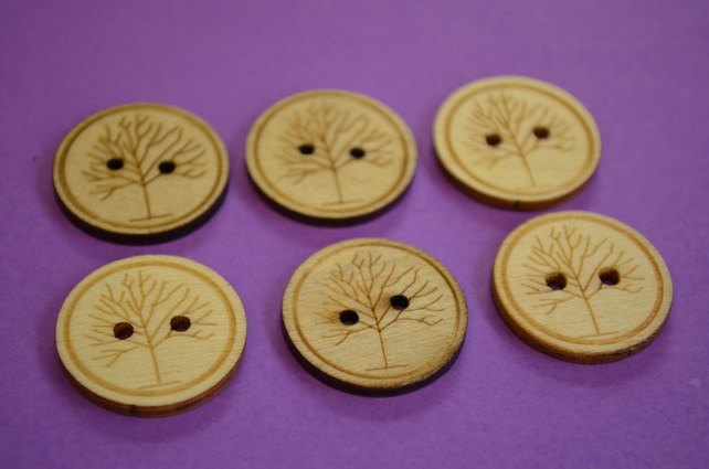 25mm Natural Wooden Tree Buttons 6pk Tree of Life Wood (WNT1)