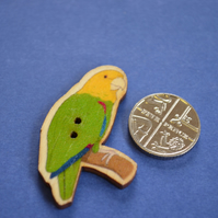 Wooden Parrot Shaped Buttons 40x26mm Bird Yellow Headed Amazon (BD16)