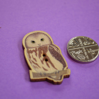 Wooden Sitting Owl Shaped Buttons 35x20mm Bird (BD13)