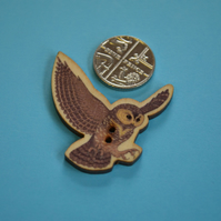 Wooden Flying Owl Shaped Buttons 35x35mm Bird (BD14)