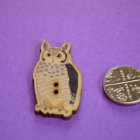 Wooden Eagle Owl Shaped Buttons 35x20mm Bird (BD17)