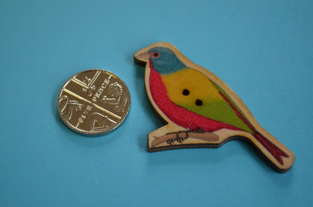 Wooden Colourful Bird Shaped Buttons 48x28mm Painted Bunting (BD22)