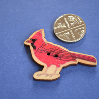 Wooden Bird Shaped Buttons 40x30mm Red Cardinal (BD20)