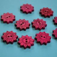 Colourful Wooden Star Flower Buttons Floral Hot Pink 10pk Flowers 20x20mm (STF4)