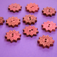 Colourful Wooden Star Flower Buttons Coral Pink 10pk Flowers 20x20mm (STF5)