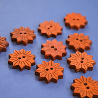 Colourful Wooden Star Flower Buttons Burnt Orange 10pk Flowers 20x20mm (STF6)