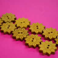 Colourful Wooden Star Flower Buttons Yellow 10pk Flowers 20x20mm (STF7)