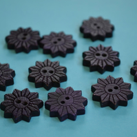Colourful Wooden Star Flower Buttons Indigo Blue 10pk Flowers 20x20mm (STF8)