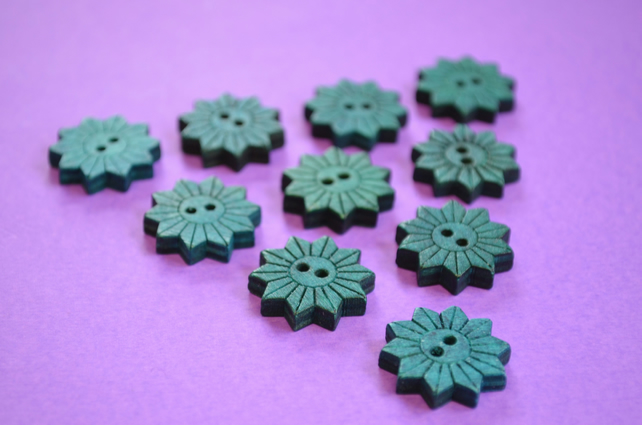 Colourful Wooden Star Flower Buttons Teal Blue 10pk Flowers 20x20mm (STF9)