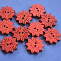 Colourful Wooden Star Flower Buttons Red 10pk Flowers 20x20mm (STF10)
