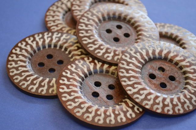 Giant Wooden Buttons 60mm Natural Brown Button Huge Large (G3)