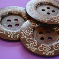 Giant Wooden Buttons 60mm Natural Brown Button Huge Large Flower (G5)