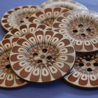Giant Wooden Buttons 60mm Natural Brown Button Huge Large Flower (G7)