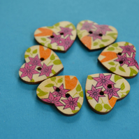 Wooden Heart Buttons Floral Pink Green Yellow 6pk 25x22mm (H17)
