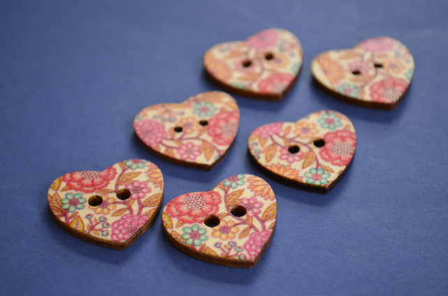 Wooden Heart Buttons Floral Pink Brown Turquoise 6pk 25x22mm (H18)