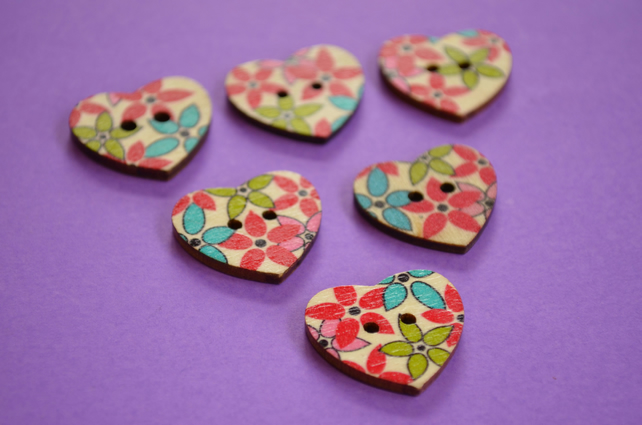 Wooden Heart Buttons Floral Red Green Blue Pink 6pk 25x22mm (H19)