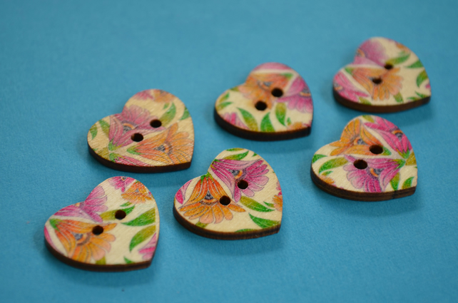 Wooden Heart Buttons Floral Pink Yellow Green Coloured 6pk 25x22mm (H21)