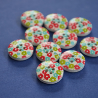 15mm Wooden Floral Buttons Red Green Blue White 10pk Flowers (SF23)