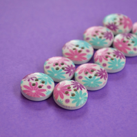 15mm Wooden Floral Buttons Pink Aqua Purple White 10pk Flowers (SF28)