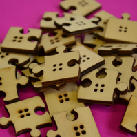 Natural Wooden Jigsaw Puzzle Piece Buttons 10pk Wood (J1)