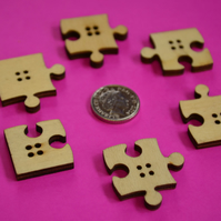 Natural Wooden Jigsaw Puzzle Piece Buttons Wood (J2)