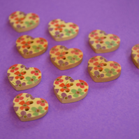 Small Natural Wooden Heart Buttons Floral Red Purple Aqua 10pk 18x15mm (NH3)