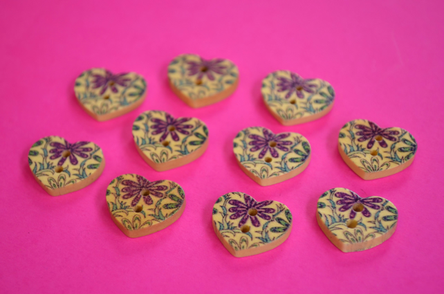 Small Natural Wooden Heart Buttons Floral Purple Blue 10pk 18x15mm (NH5)