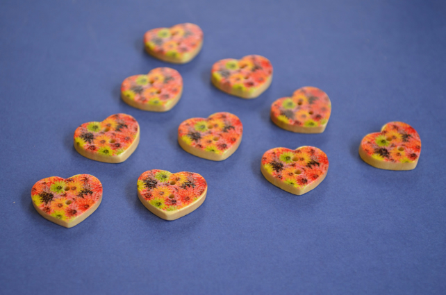 Small Natural Wooden Heart Buttons Floral Red Pink Yellow 10pk 18x15mm (NH6)