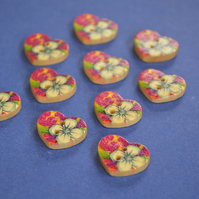 Small Natural Wooden Heart Buttons Floral Blue Pink Green 10pk 18x15mm (NH10)