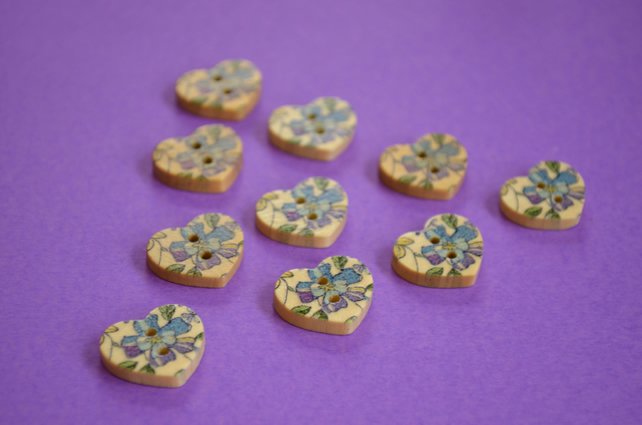Small Natural Wooden Heart Buttons Floral Blue Purple Green 10pk 18x15mm (NH7)
