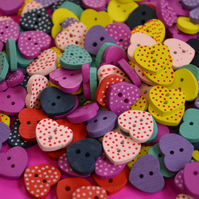Little Wooden Dotty Heart Buttons Mixed 10pk Spotty Dot Colourful 13x15mm (WH1)