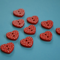 Little Wooden Dotty Heart Buttons Red 10pk Spotty Dot Colourful 13x15mm (WH3)