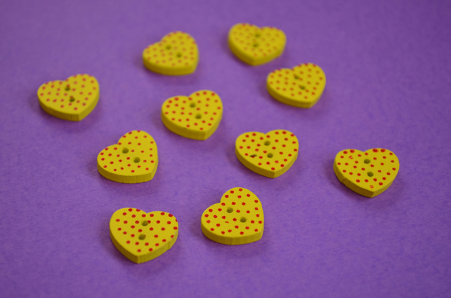 Little Wooden Dotty Heart Buttons Yellow 10pk Spotty Dot Colourful 13x15mm (WH4)