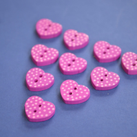 Little Wooden Dotty Heart Buttons Magenta 10pk Spotty Dot Pink 13x15mm (WH6)