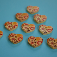 Small Natural Wooden Heart Buttons Floral Red Yellow Brown 10pk 18x15mm (NH8)