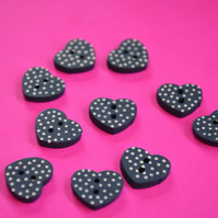 Little Wooden Dotty Heart Buttons Navy Blue 10pk Spotty Dot  13x15mm (WH7)