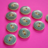 15mm Wooden Ships Compass Buttons 10pk Nautical Boat Sea Sailing (SNT11)