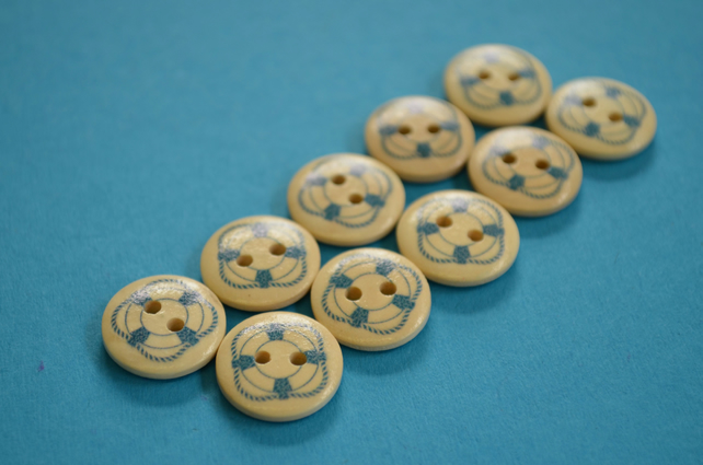 15mm Wooden Ships Life Ring Buttons 10pk Nautical Boat Sea Sailing (SNT11)