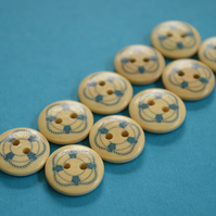 15mm Wooden Ships Life Ring Buttons 10pk Nautical Boat Sea Sailing (SNT12)