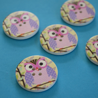 30mm Wooden Owl Buttons Purple Pink Green Pink 5pk Bird (LOW1)