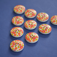 15mm Wooden Floral Buttons Orange Red Yellow Green 10pk Flowers (SF14)