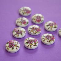 15mm Wooden Floral Buttons Cerise Pink Yellow Green 10pk Flowers (SF15)