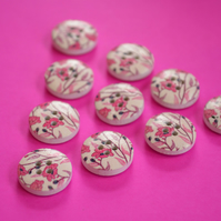 15mm Wooden Floral Buttons Pink 10pk Flowers (SF16)
