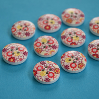 15mm Wooden Floral Buttons Red Purple Yellow 10pk Flowers (SF17)