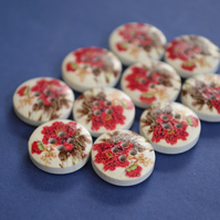 15mm Wooden Floral Buttons Red Green 10pk Flowers (SF18)